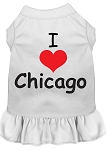 I Heart Chicago Screen Print Dog Dress White 4X (22)
